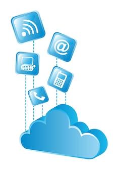 Nuvola blu con le icone blu sopra il vettore bianco del fondo
