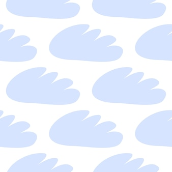 Reticolo senza giunte delle nuvole blu. illustrazione del bambino di disegno vettoriale per tessuto, carta da parati, per articoli per bambini su sfondo bianco.
