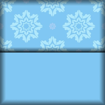 Sfondo di colore blu con motivo bianco indiano per il design sotto il tuo logo o testo
