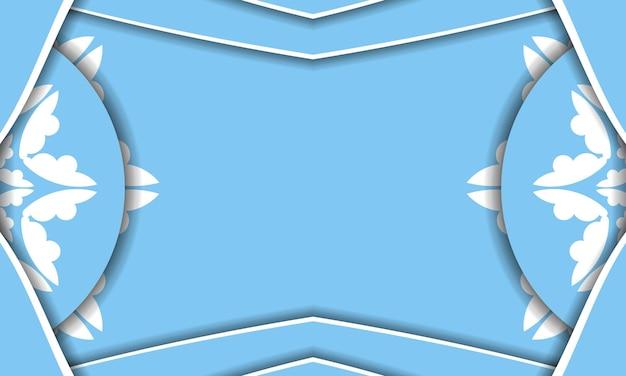 Modello di banner di colore blu con motivo bianco astratto per il design sotto il testo