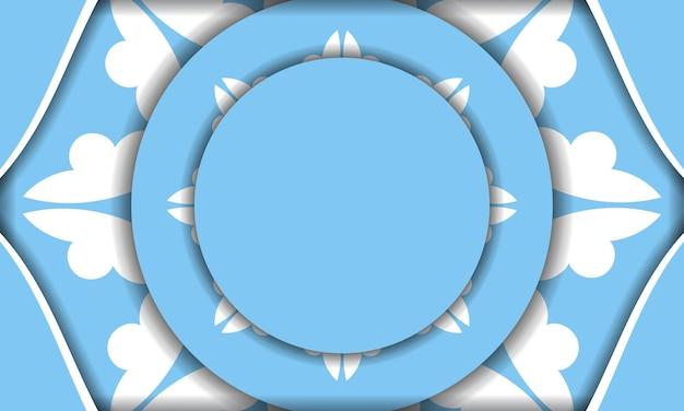 Modello di banner di colore blu con motivo greco bianco per il design sotto il testo