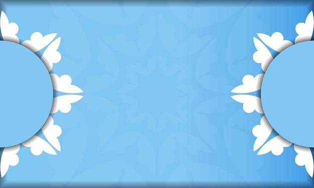 Modello di banner di colore blu con motivo bianco indiano e posto sotto il testo