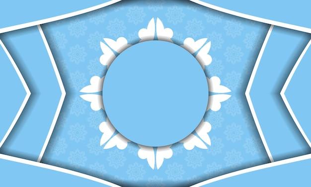 Modello di banner di colore blu con motivo bianco mandala per il design sotto il testo