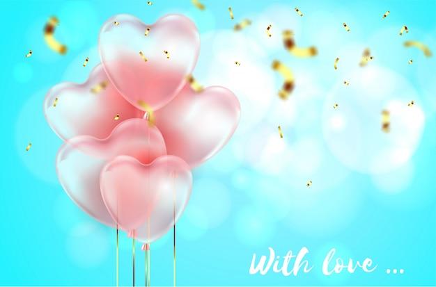 Colore blu, bellissimi palloncini 3d realistici a forma di cuore e coriandoli