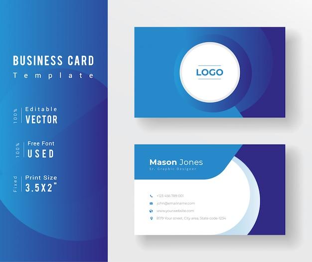 Modello professionale di affari di colore blu con gradiente astratto