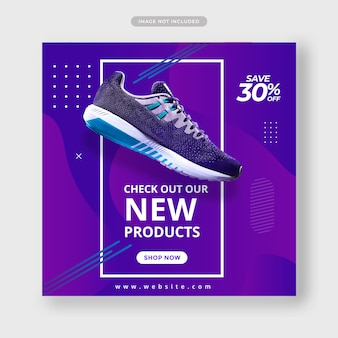Banner di post sui social media di scarpe sportive di colore blu