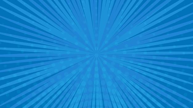 Sfondo della pagina di fumetti blu in stile pop art con spazio vuoto. modello con raggi, punti e texture effetto mezzitoni. illustrazione vettoriale