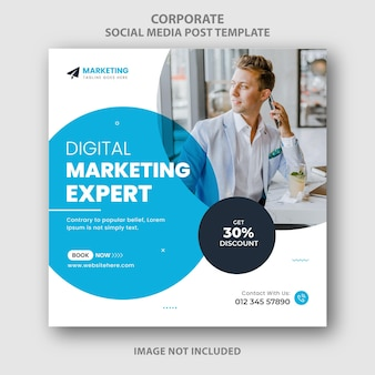 Blu corporate business marketing digitale social media instagram posttemplate per uso multiuso
