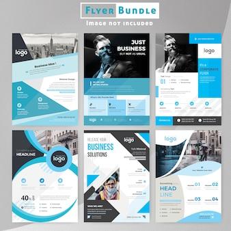 Pacchetto aziendale corporate flyer blu per le imprese