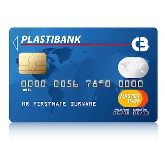Illustrazione vettoriale di carta di credito blu, molto dettagliata