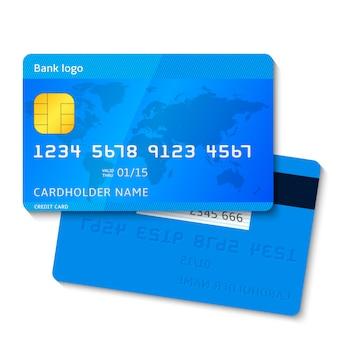 Carte di credito blu con testo e mappa del mondo