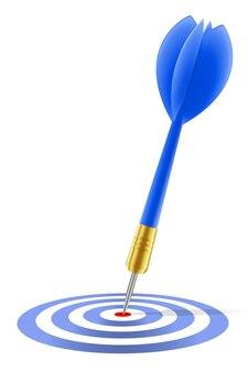 Dardo blu che colpisce il bersaglio su bianco