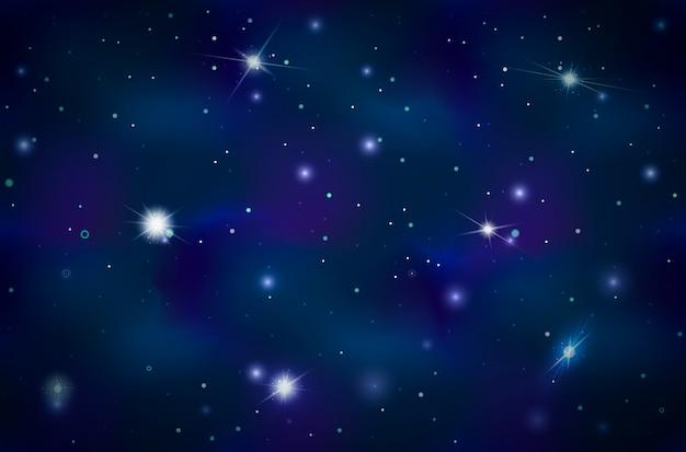 Sfondo blu spazio profondo con stelle luminose e costellazioni