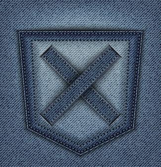 Design blu denim con tasca posteriore e croce con punti di sutura.