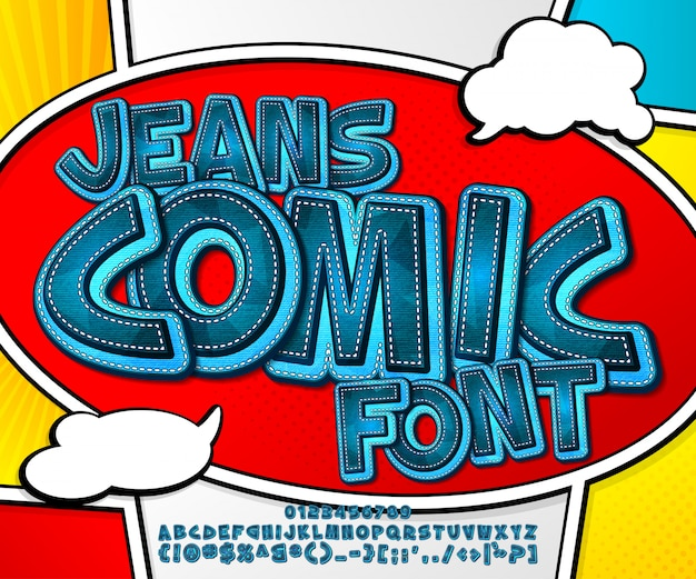 Carattere di denim blu sulla pagina del libro di fumetti. alfabeto in stile pop art. lettere e figure multistrato di jeans da cartone animato