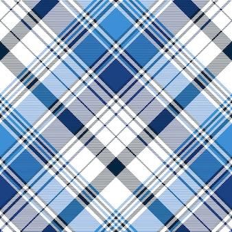 Modello senza cuciture plaid astratto diagonale blu
