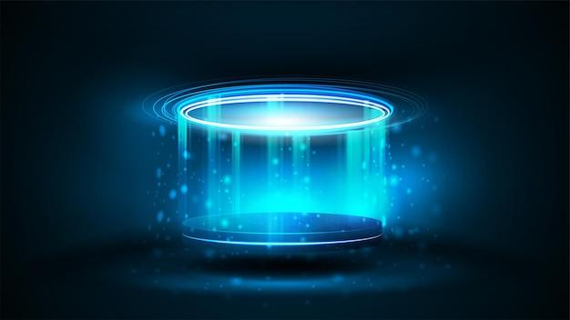 Podio ologramma digitale blu di forma cilindrica con particelle e anelli lucidi in camera oscura. brilla il podio al neon blu per la presentazione del prodotto, illustrazione realistica di vettore 3d.