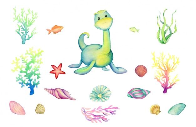 Un dinosauro blu, coralli, pesci, conchiglie. insieme dell'acquerello, mondo preistorico subacqueo, su uno sfondo isolato.