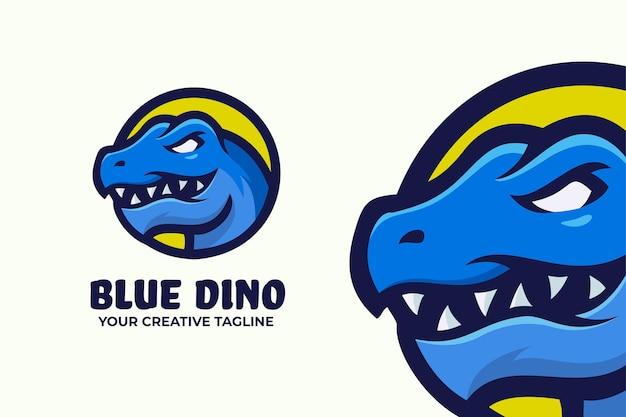 Modello mascotte logo dinosauro blu