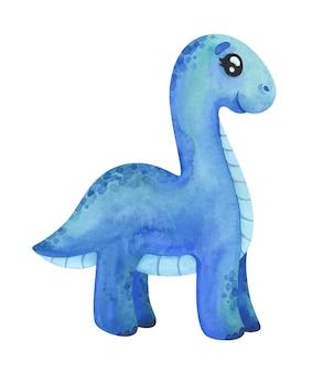 Diplodocus blu isolato su bianco