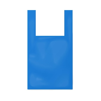 Illustrazione realistica di vettore del modello della borsa della maglietta usa e getta blu isolata