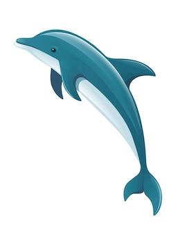 Delfino blu cartone animato mare animale design piatto illustrazione vettoriale isolato su sfondo bianco.