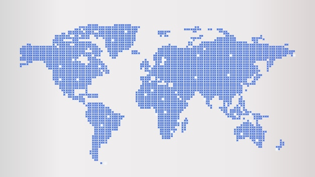 Mappa del mondo tratteggiata blu
