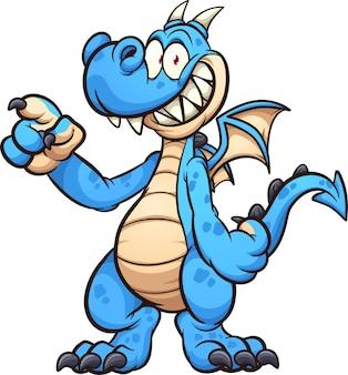 Personaggio dei cartoni animati del drago blu in piedi e che indica