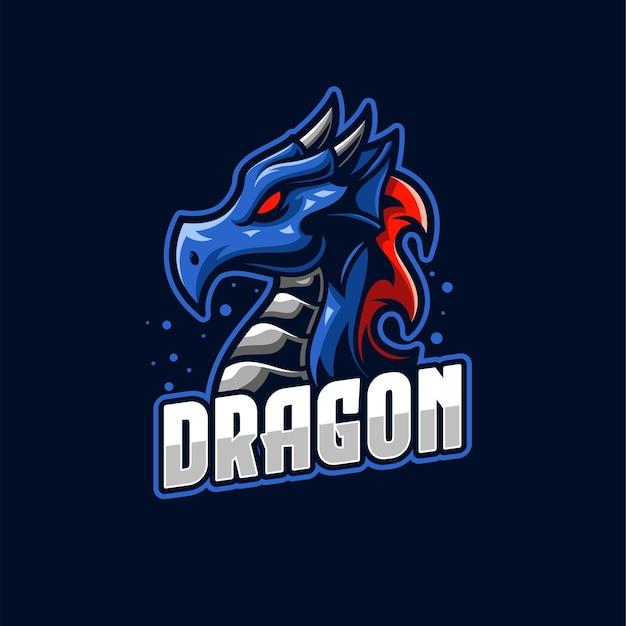 Modello di logo di e-sport blue dragon