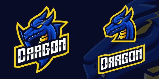 Logo della mascotte del gioco del drago blu per lo streamer e la community di esports