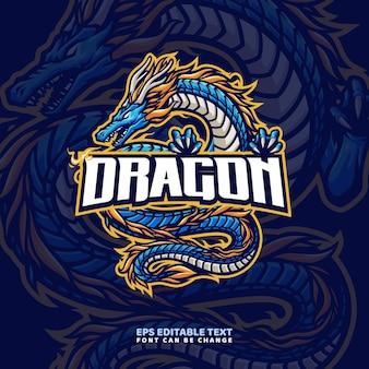 Modello di logo della mascotte del drago blu
