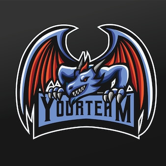 Blue dragon mascot sport illustration per logo esport gaming team squad