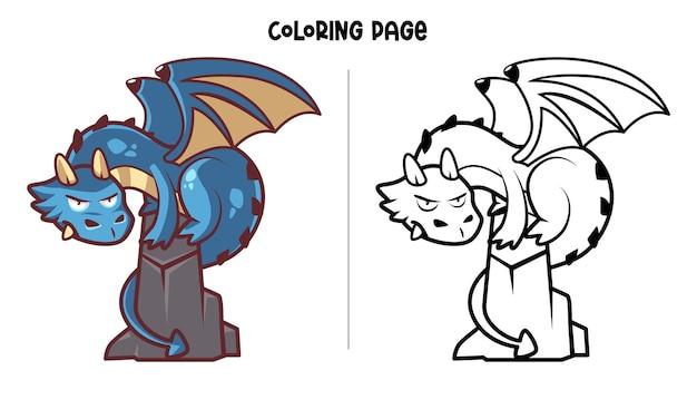 Blue dragon in piedi sulla roccia. pagina da colorare stampabile e libro da colorare