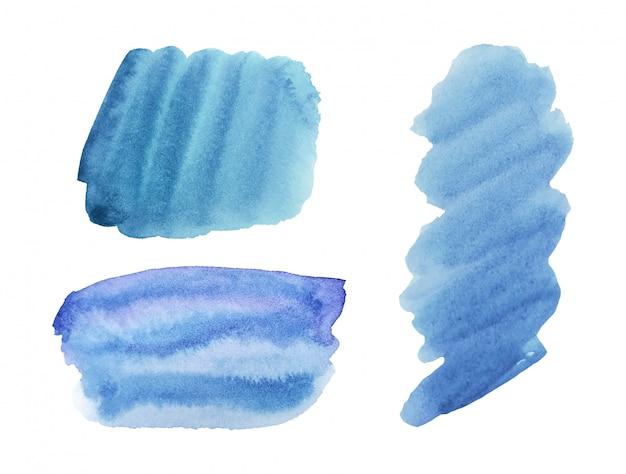 Disegno blu gradiente trama acquerello, inchiostro vettoriale, decorazione acrilica.