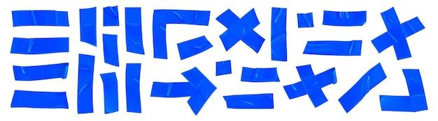 Insieme blu del nastro di riparazione del condotto isolato su fondo bianco. pezzi di nastro adesivo blu realistico per il fissaggio. freccia adesiva, croce, angolo e carta incollata. illustrazione vettoriale 3d realistica