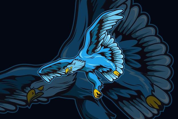 Modello di logo della squadra di e-sport aquila blu