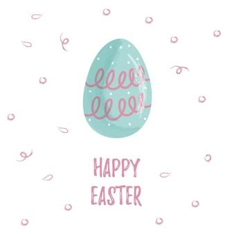 Uovo blu con motivo e scritta