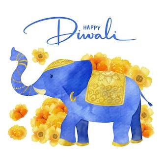 Elefante blu disegno ad acquerello diwali