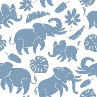 Elefanti blu su un modello di vettore di struttura senza giunte di sfondo bianco con foglie tropicali
