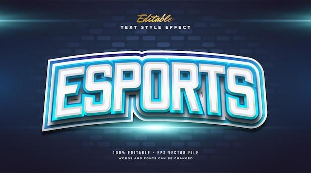 Effetto stile testo esport blu Vettore Premium