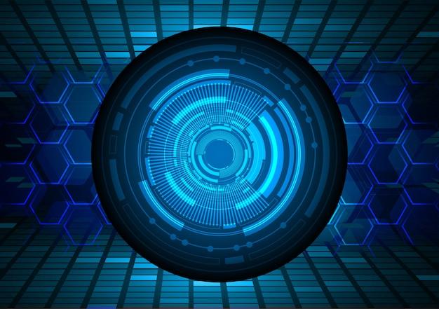 Fondo di concetto di tecnologia futura del circuito cyber dell'occhio azzurro