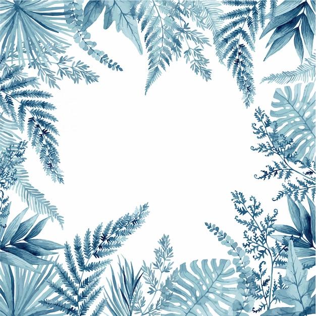 Foglie di felce blu, cornice tropicale