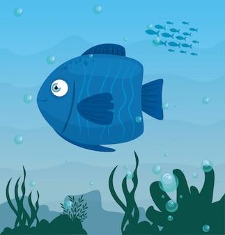 Animale blu del pesce in oceano, abitante del mondo marino, creatura subacquea sveglia, fauna sottomarina, concetto marino dell'habitat