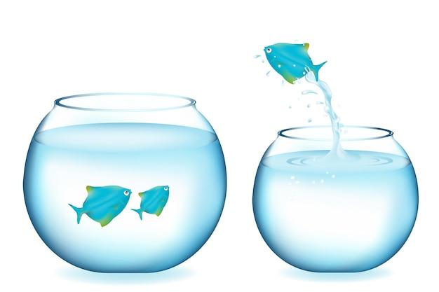 Pesce azzurro che salta ad un altro acquario con due pesci, isolati su bianco