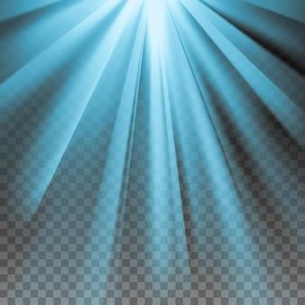 Bagliore blu. raggi polari elettrici. effetto abbagliante con trasparenza. astratto sfondo chiaro incandescente. pronto per l'applicazione. elemento grafico per documenti, modelli, poster, volantini. illustrazione vettoriale