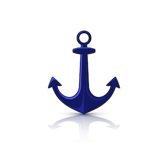 Logo di ancoraggio piatto blu isolato