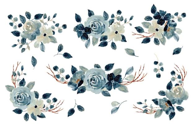 Collezione di acquerelli di composizione floreale blu