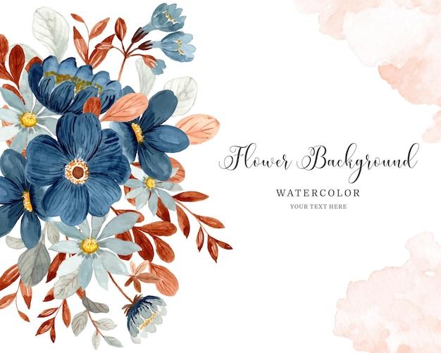 Sfondo floreale blu con acquerello