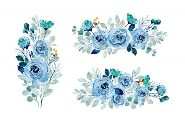 Collezione di bouquet floreale blu con acquerello