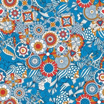 Motivo decorativo floreale blu